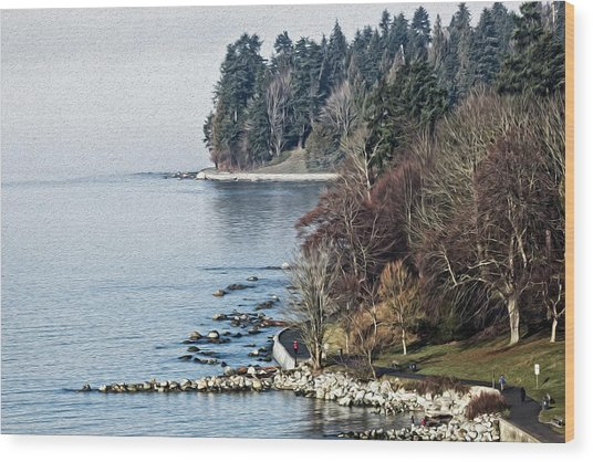 English Bay Shore Wood Print