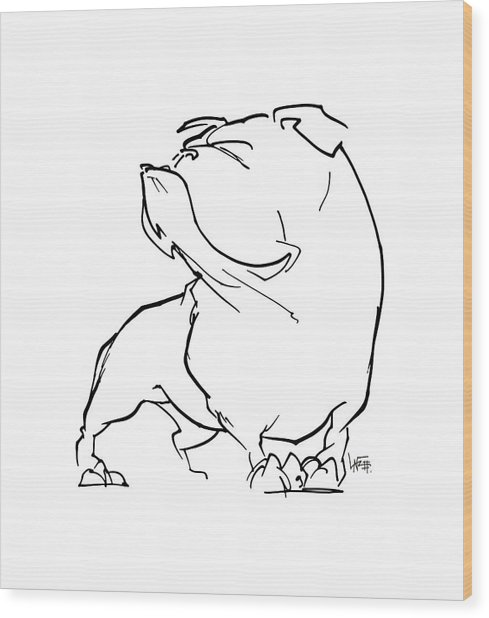 English Bulldog Gesture Sketch Wood Print