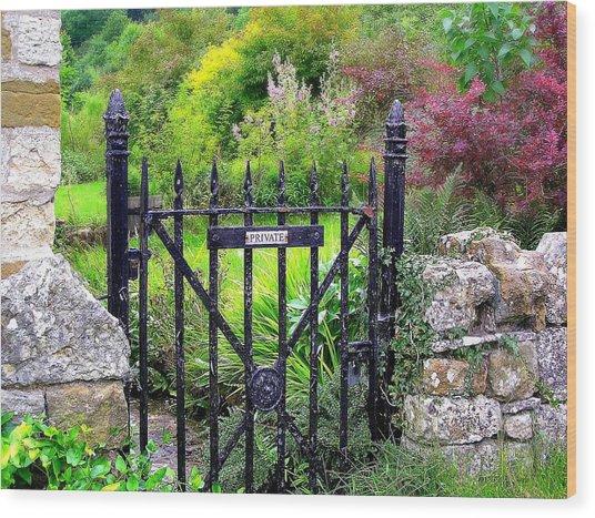 English Garden Gate Wood Print by Jen White