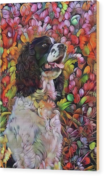 English Springer Spaniel In The Garden Wood Print