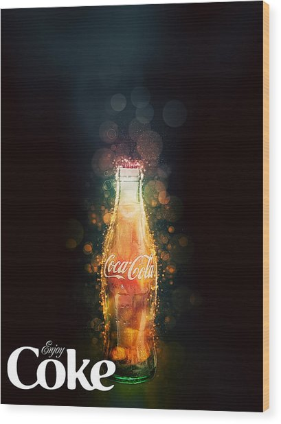Enjoy Coca-cola With Bubbles Wood Print