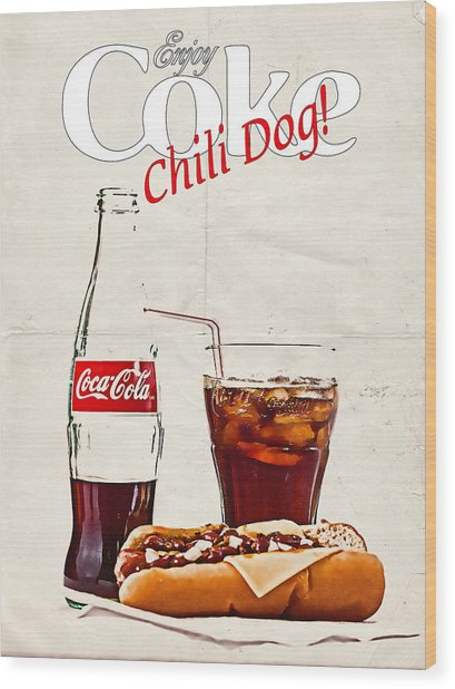 Enjoy Coca-cola With Chili Dog Wood Print