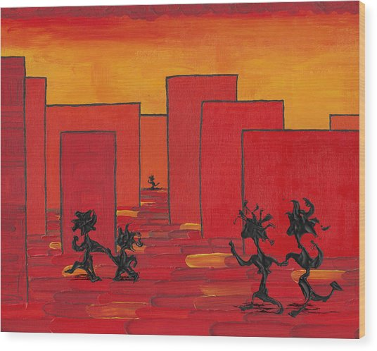 Enjoy Dancing In Red Town P1 Wood Print