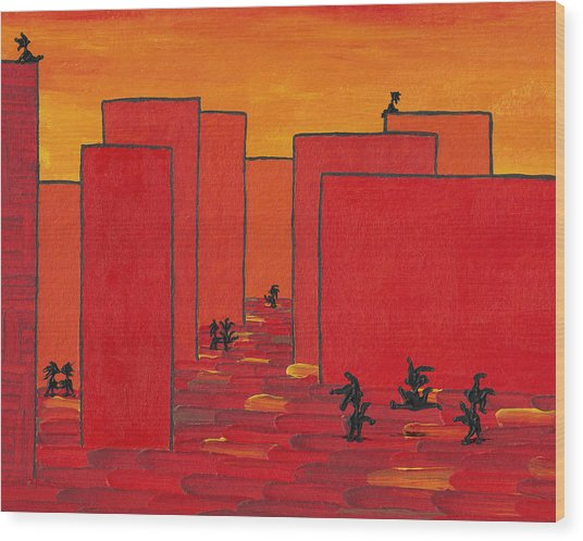 Enjoy Dancing In Red Town P2 Wood Print