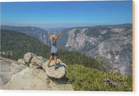 Enjoying At Yosemite Summit Wood Print