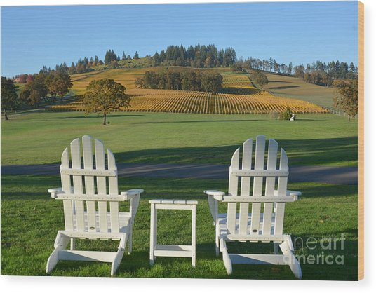 Enjoying Oregon Wine Country Wood Print