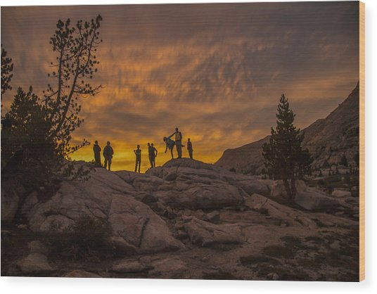 Enjoying The Sunset Wood Print