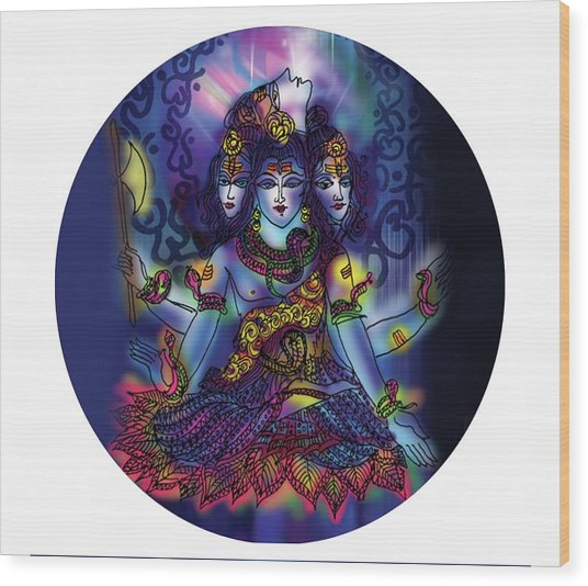 Enlightened Shiva Wood Print