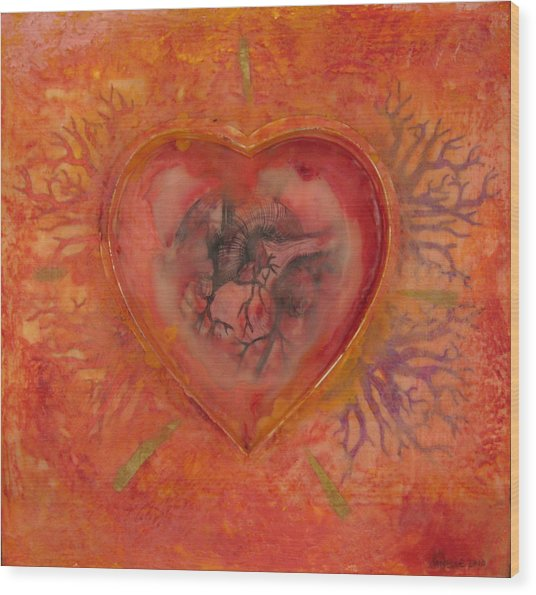 Enshrine - Outward Heart Wood Print