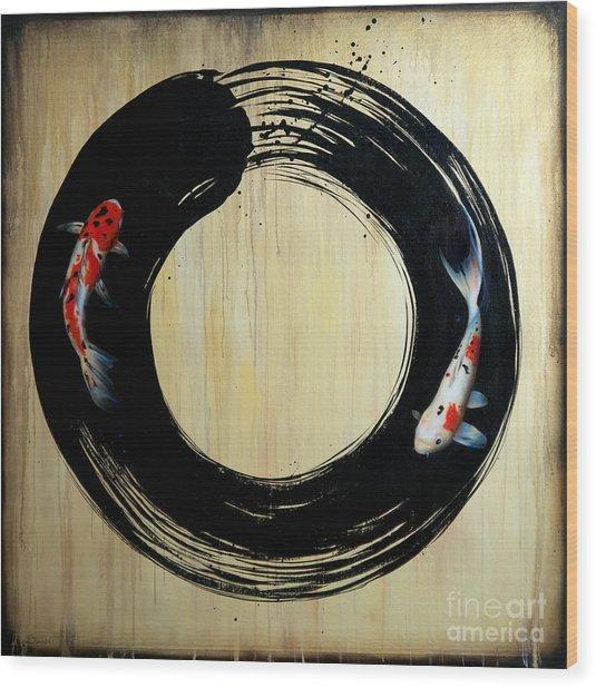 Enso With Koi Wood Print
