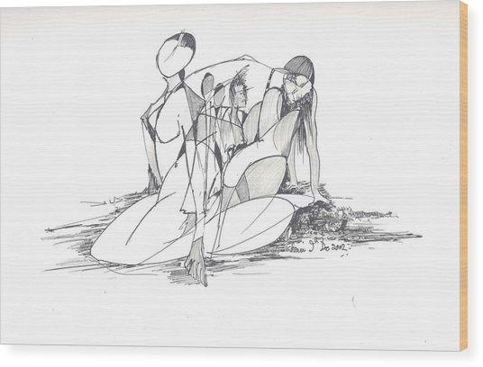 Entangled Women Wood Print by Padamvir Singh