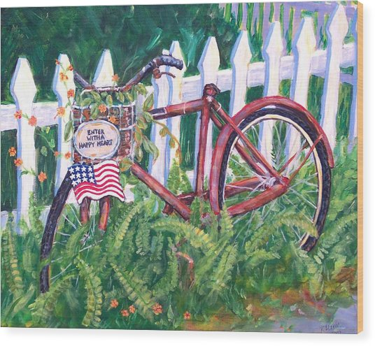 Enter With A Happy Heart Wood Print by Ruth Mabee