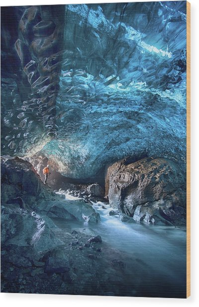 Entering The Ice Cave Wood Print