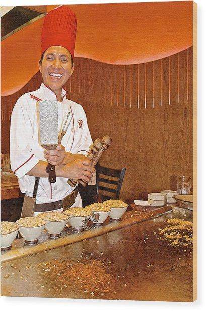 Entertaining Chef At Benihana In Monterey-california Wood Print