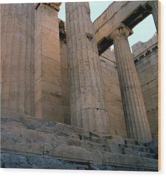 Entrance To Past Life   Acropolis Wood Print by Blima Efraim