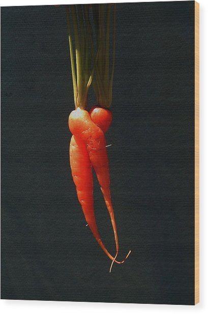 Entwined Carrots Wood Print by Mark Stevenson