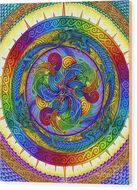 Psychedelic Dragons Rainbow Mandala Wood Print