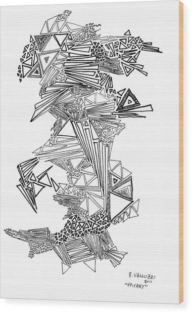 Epitaxy Ink Drawing By Regina Valluzzi Wood Print