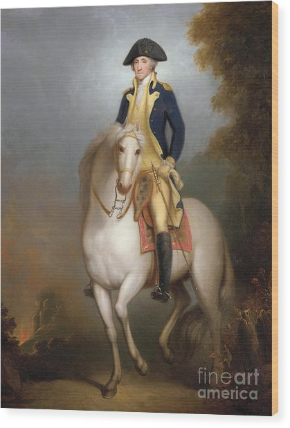 Equestrian Portrait Of George Washington Wood Print