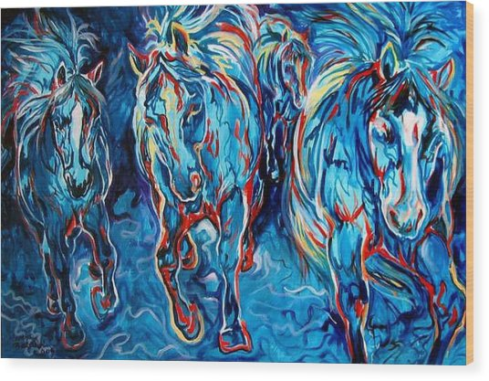 Equine Abstract Blue Four By M Baldwin Wood Print by Marcia Baldwin