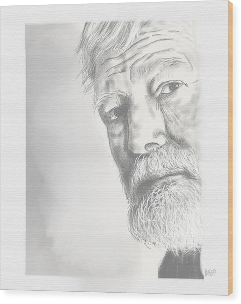 Wood Print featuring the digital art Ernest Hemingway by Antonio Romero