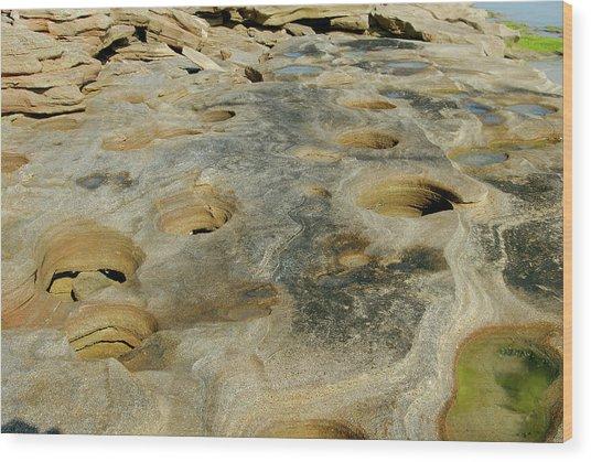 Eroded Beach Rocks Wood Print by David Campione