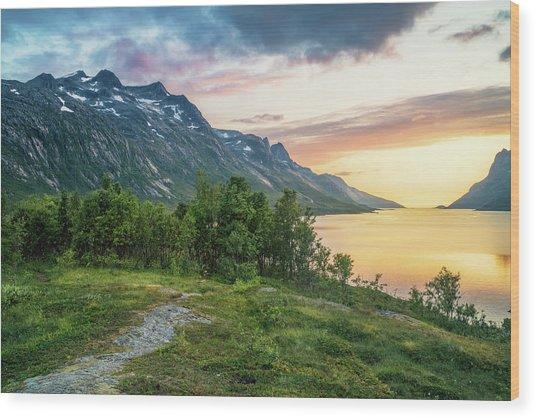 Ersfjord Sunset Wood Print