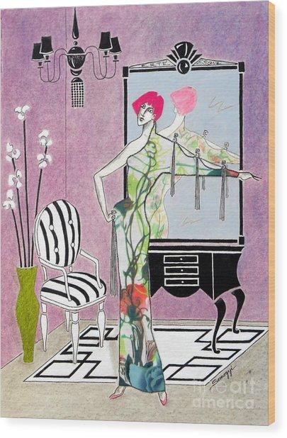 Erte'-esque -- Art Deco Interior W/ Fashion Figure Wood Print
