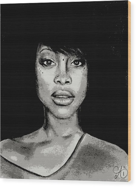 Erykah Baduism - Pencil Drawing From Photograph - Charcoal Pencil Drawing By Ai P. Nilson Wood Print