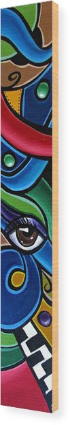 Colorful Abstract Art Painting, Modern Art Brown Eye Art Paintings Wood Print