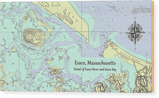 Essex River Detail Wood Print