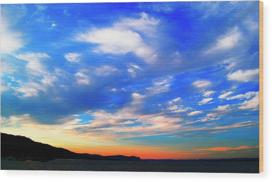 Estuary Skyscape Wood Print