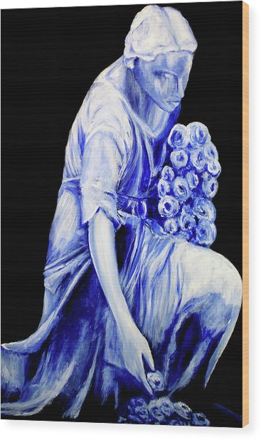 Flower Girl In Blue Wood Print