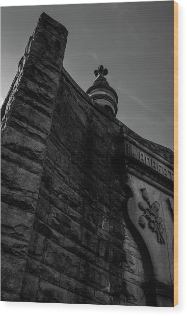 Eternal Stone Structure Bw Wood Print
