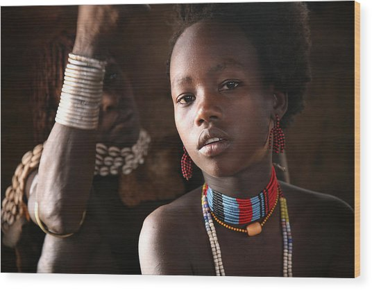 Ethiopian Hamer Girl Wood Print