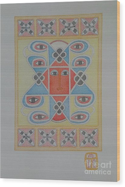 Ethiopian Cherub Talismen Scroll Wood Print