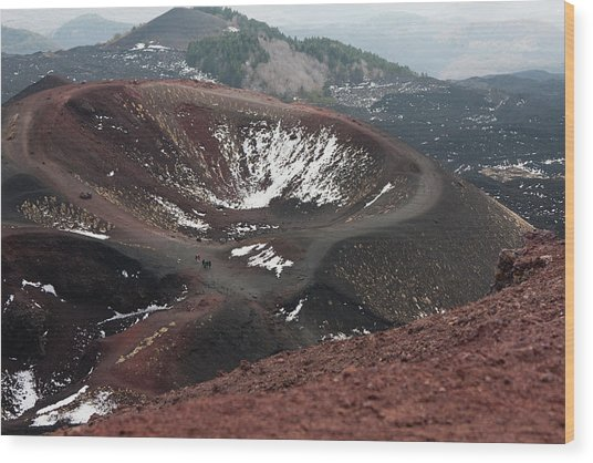 Etna, Red Mount Crater Wood Print