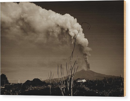 Etna, The Volcano Wood Print