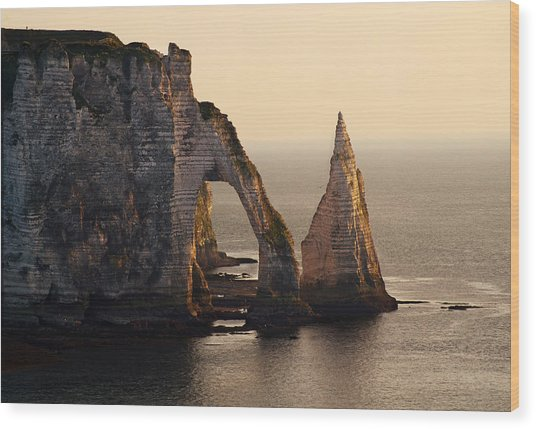 Etretat In Morning Sun Wood Print