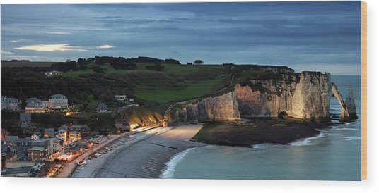Etretat In The Evening Wood Print