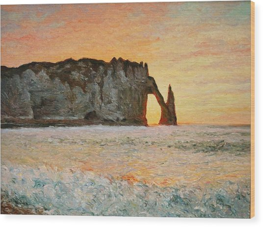 Etretat, Sunset  Wood Print