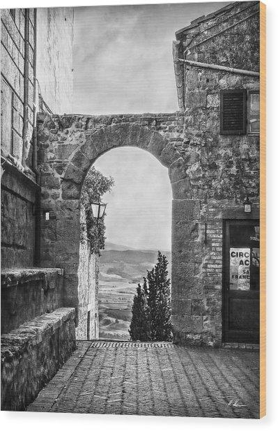 Etruscan Arch B/w Wood Print