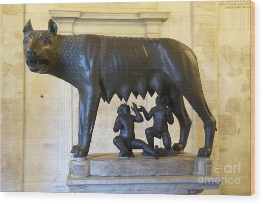 Etruscan Bronze Statue Of The She-wolf With Romulus And Remus. Capitoline Museum. Capitoline Hill. R Wood Print