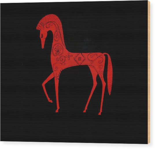 Etruscan Horse Wood Print