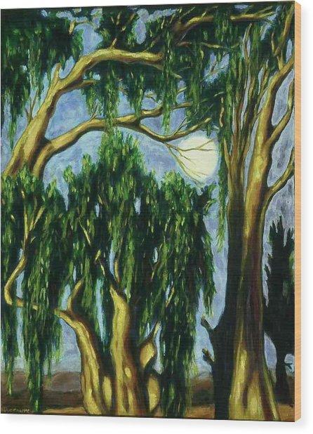 Eucalyptus Moon Wood Print by Helen O Hara
