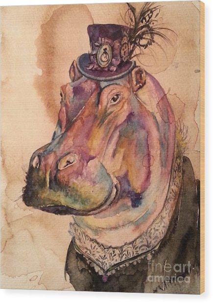Eunice Hippo Wood Print