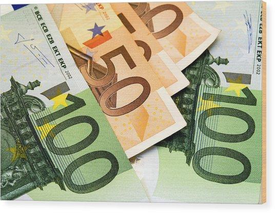 Euro Banknotes Wood Print