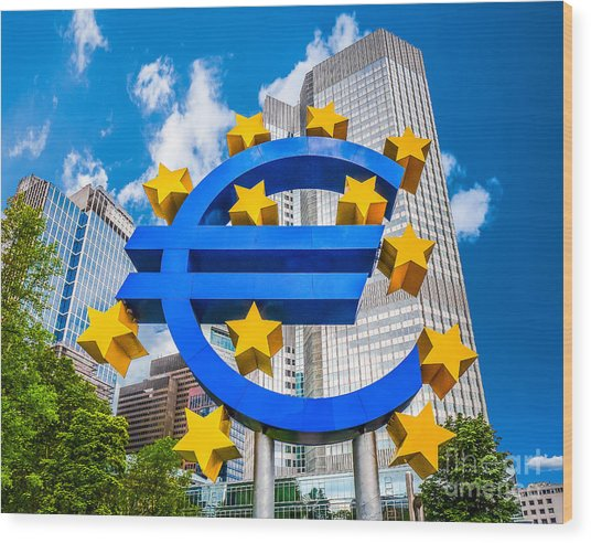 Euro Sign At European Central Bank In Frankfurt, Germany Wood Print