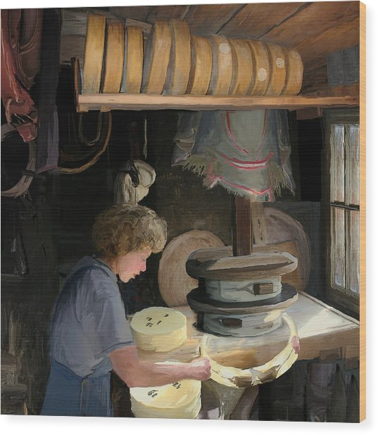 European Cheesemaker Wood Print by Carol Peck