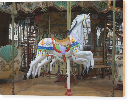 European Merry Go Round Wood Print by Dennis Curry